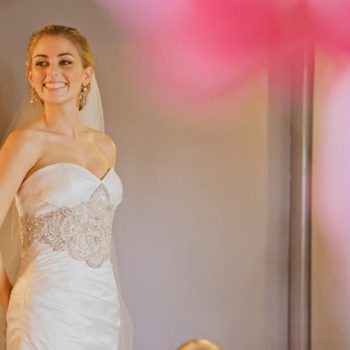evelyn smiling in wedding dress