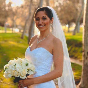karina smiling in wedding dress