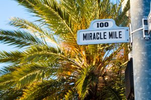 sign of the Miracle Mile in Coral Gables