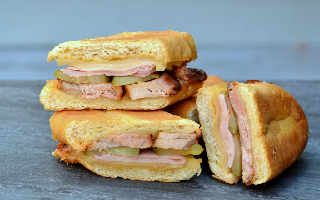 Cuban sandwich cut into three pieces